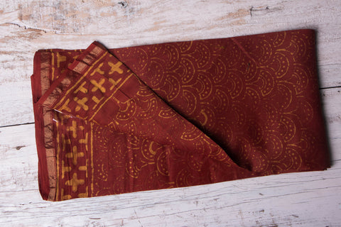 Pipad Block Print Chanderi Silk Zari Border Blouse Piece