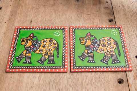 Madhubani Handpainted Wooden Coasters Square (set of 2)