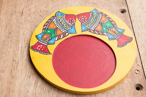 Madhubani Handpainted Wooden Coaster Round (single)