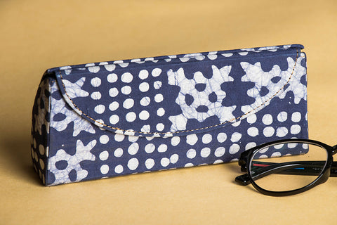 Koral Batik Print Fabric Embellished Spectacle Case