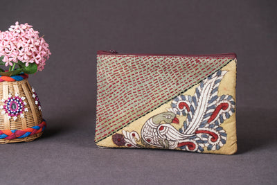 Handpainted Kalamkari Natural Dyed Semi Silk Tagai Work Hand Purse