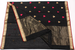 Black Chanderi Saree with Gold Zari Border & Floral Motifs