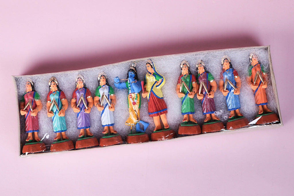 Handpainted Terracotta Gopiyaan Krishna Set