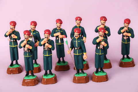 Handpainted Terracotta Military Band Set