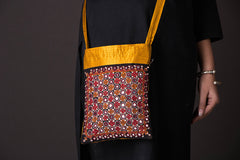 Kutchhi Hand Embroidered Mirror Work Mashru Silk Sling Bag