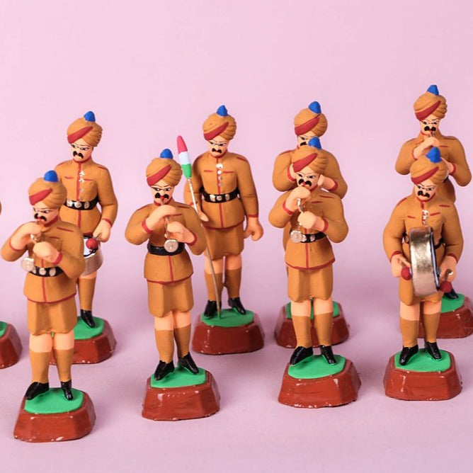 Handpainted Terracotta Police Band Set