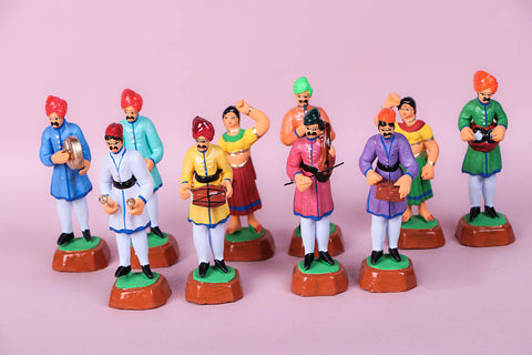 Handpainted Terracotta Indian Musicians set