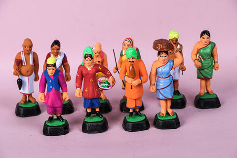 Handpainted Terracotta Village People Set