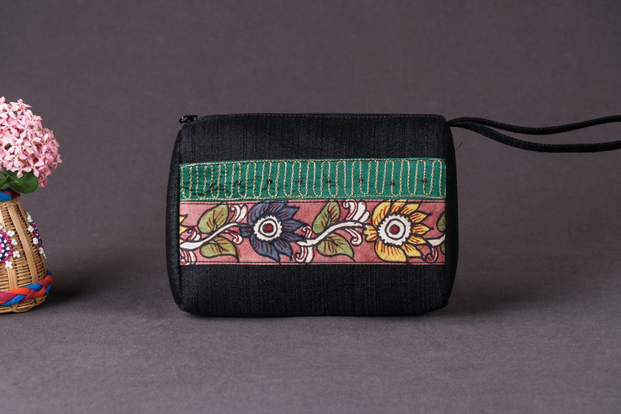 Handpainted Kalamkari Natural Dyed Ghicha Silk Multipurpose Cosmetic/Toiletry Pouch