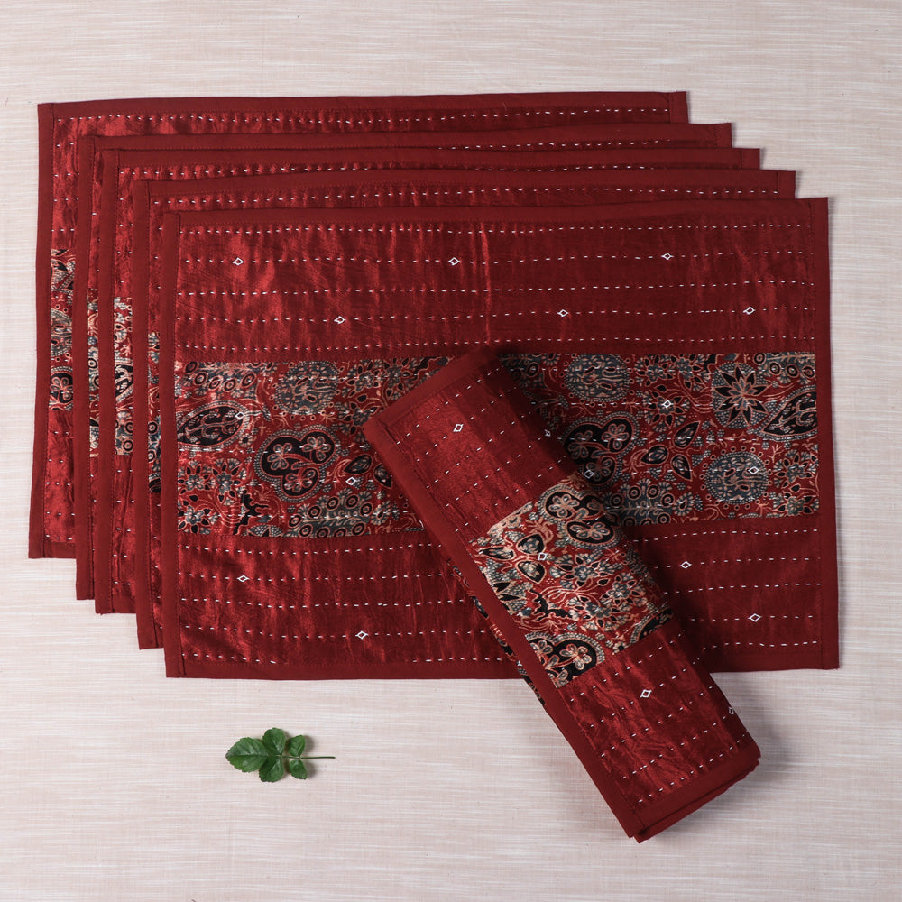 Kutch Tagai Embroidered Mashru Silk Table Mats - Set of 6 (13 x 14 in)