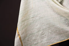 Sujani Embroidery Dupatta in Chanderi Silk with Zari by Aunam
