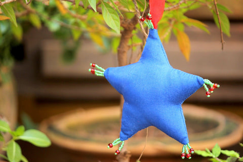 Blue Mango Stuffed Hanging - Organza Snowman Ornament