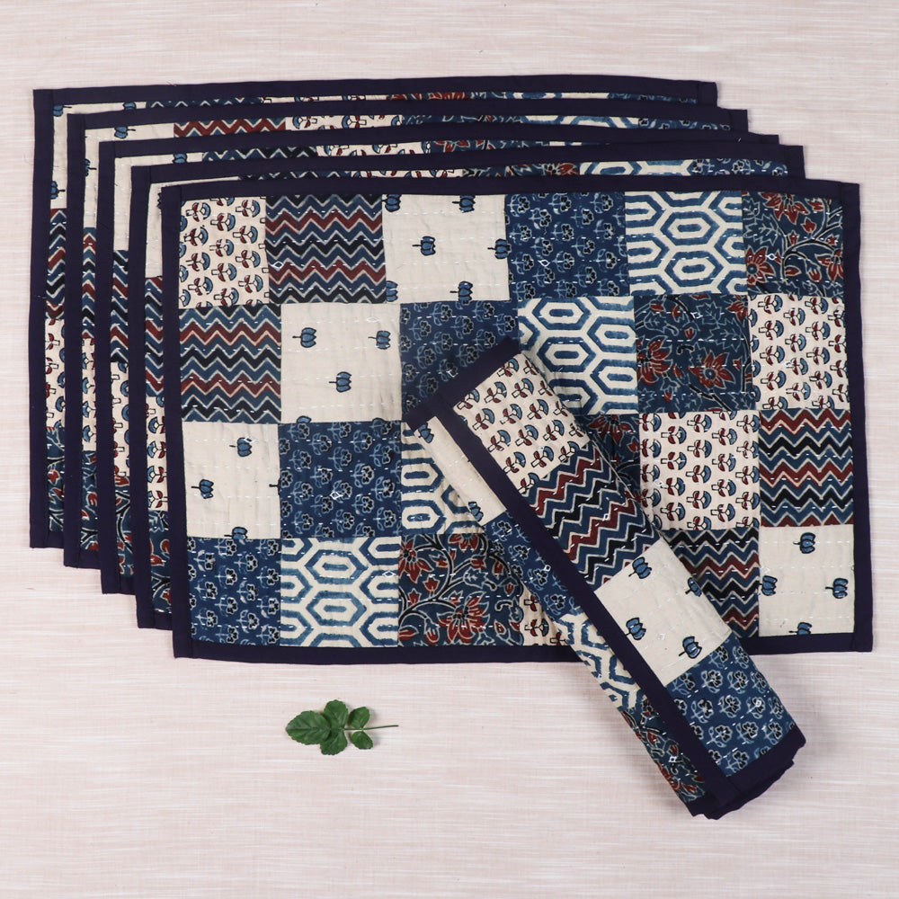 Kutch Tagai Embroidered Ajrakh Cotton Table Mats - Set of 6 (13 x 14 in)