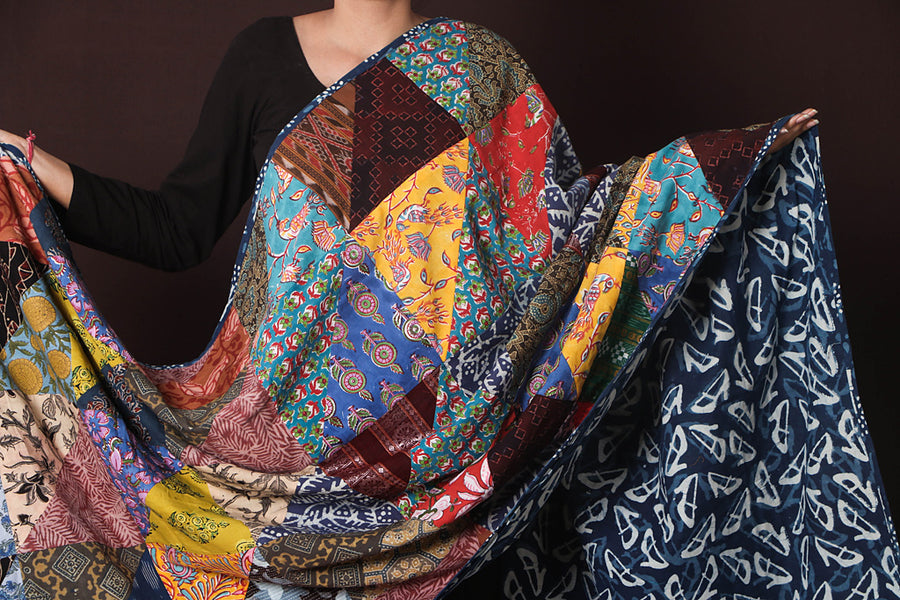 Indigo Reversible Patchwork Cotton Dupatta by Noori Bazar