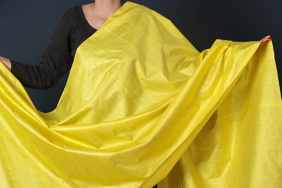 Lemon Yellow - Vidarbha Tussar Cotton Handloom Dupatta