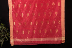 Traditional Chanderi Silk Nakshi Zari Buti Handloom Saree by Rauph Khan