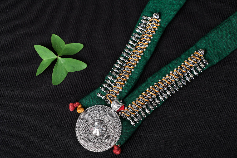 Chammak Challo Fabric German Silver Necklace