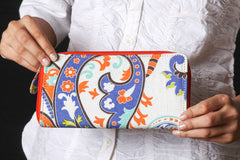 Women Printed Multicolour Cotton Casual, Office Zipper Clutch