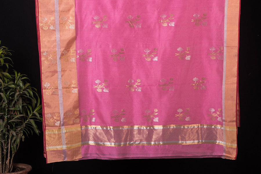 Traditional Chanderi Silk Zari Buti Handloom Saree with Tissue Border by Rauph Khan