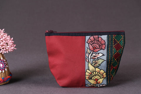 Handpainted Kalamkari Natural Dyed Cotton Multipurpose Small Cosmetic/Toiletry Pouch