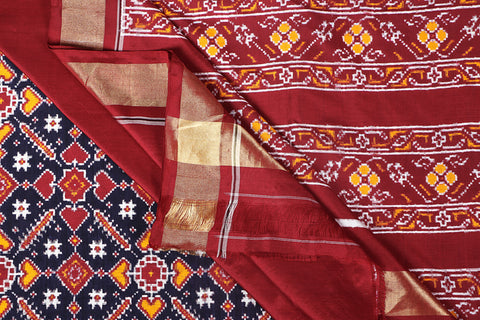 Special Patola Weave Pochampally Ikat Hand Spun Pure Silk Saree With Blouse