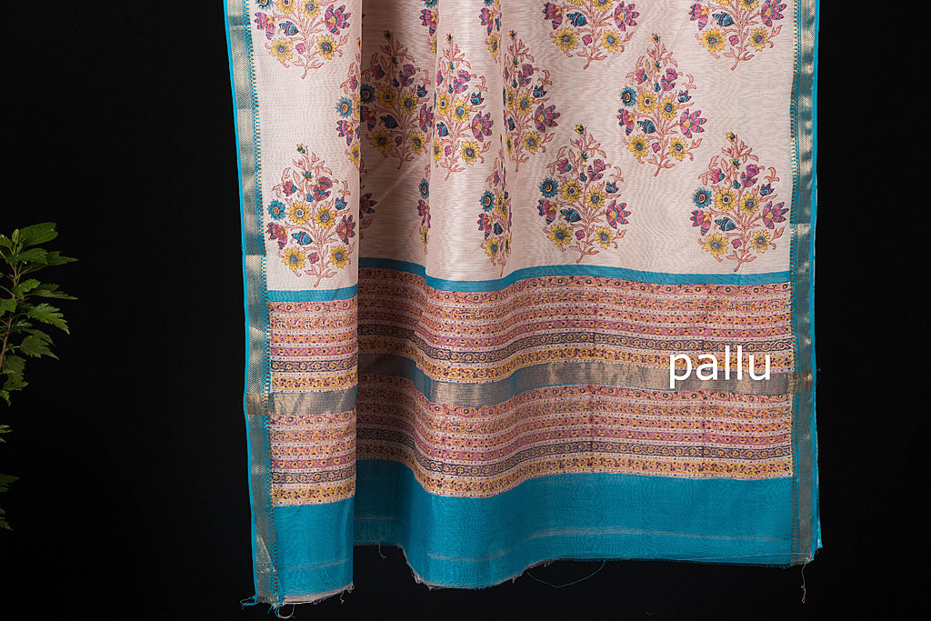 Maheen Kaam Traditional Sanganari Signature Hand Block Print Chanderi Saree