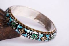 Sterling Silver Meenakari Work Kada Bangle ( Size 2/8)