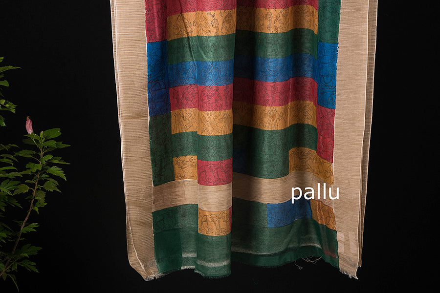 Sanganeri Print Chanderi Silk Ghicha Border Saree with Blouse