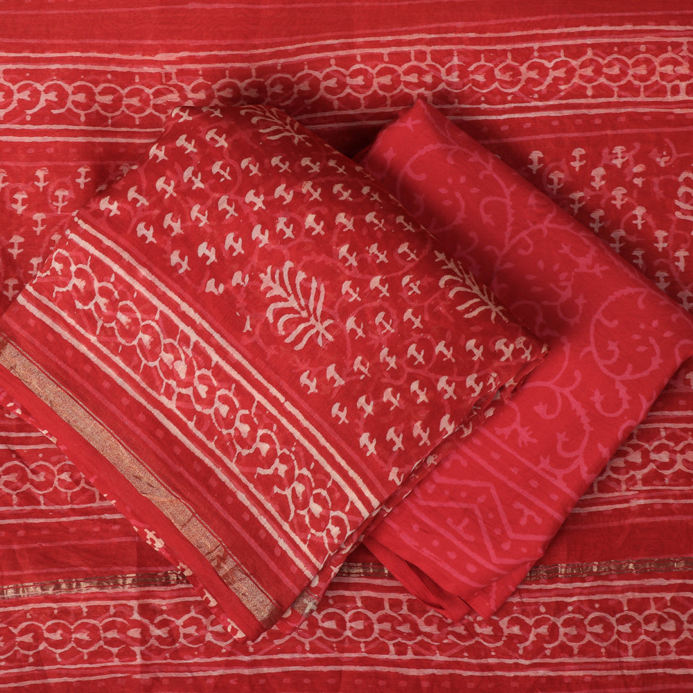 Bagru Block Printed Chanderi Silk 3pc Suit Material Set with Zari Border