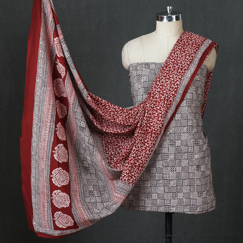 Bagh Block Print Natural Dyed 3pc Cotton Suit Material Set