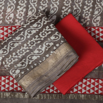 Bagru Block Printed Maheshwari Silk 3pc Suit Material Set with Zari Border