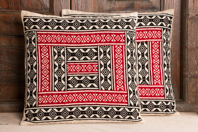 Tribal Toda Hand Embroidery Cushion Cover (Set of 2)