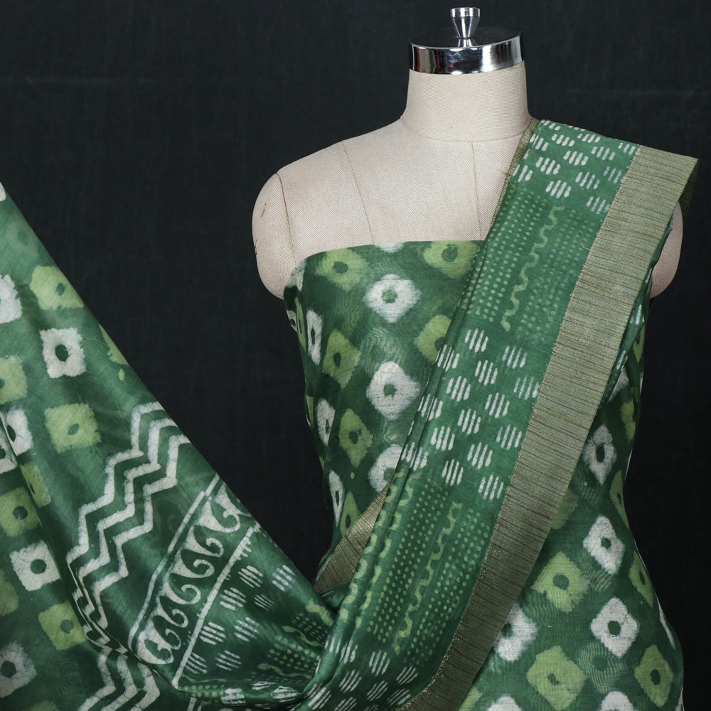 Bagru Block Printed Chanderi Silk 3pc Suit Material Set with Ghicha Border