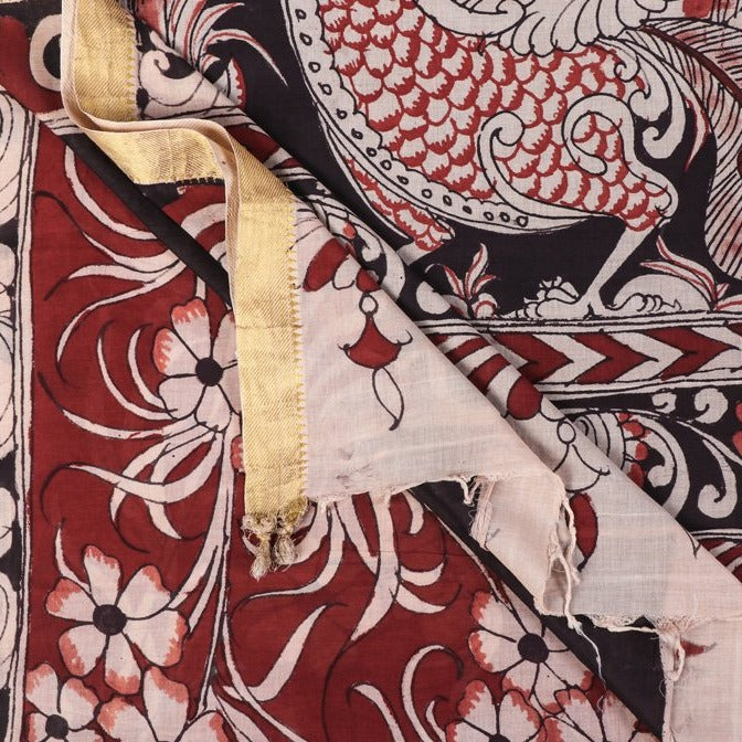 Handloom Pure Mangalgiri Cotton Handpainted Pen Work Srikalahasti Kalamkari Saree