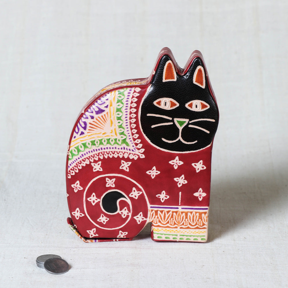 Handcrafted Leather Money Bank - Cat