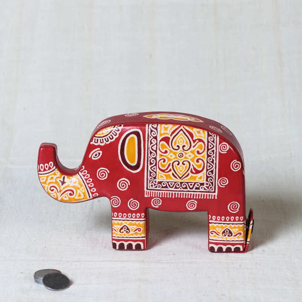 Handcrafted Leather Money Bank - Elephant