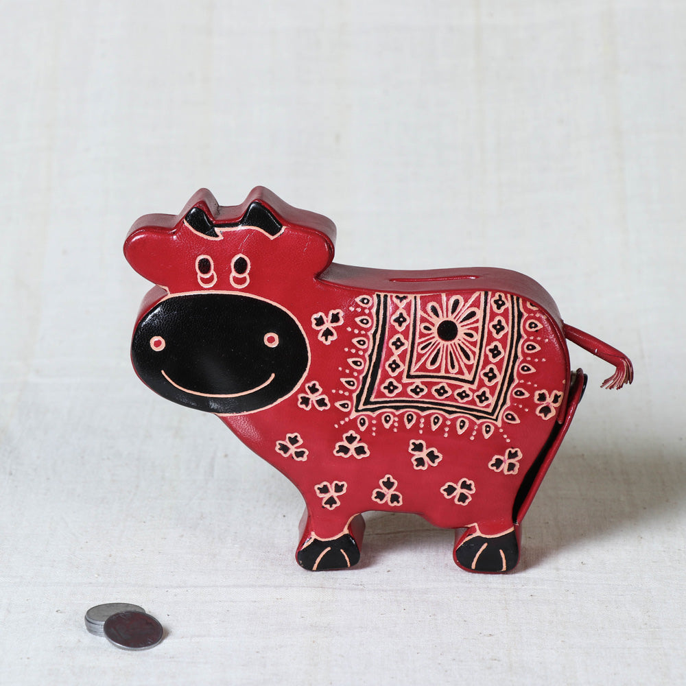 Handcrafted Leather Money Bank - Cow