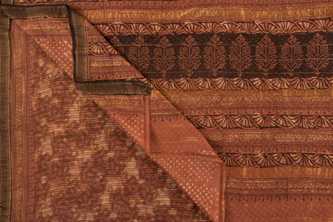 Bagru Block Printed Maheshwari Silk Saree With Zari