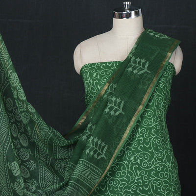 Sanganeri Block Printed Cotton 3pc Suit Material Set with Kota Doria Dupatta