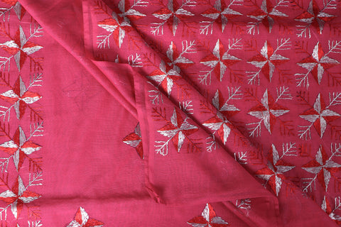 Traditional Phulkari Heavy Hand Embroidered Silk Cotton Saree