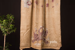 Chaubundi Pure Tussar Silk Dabu Art Saree with Blouse