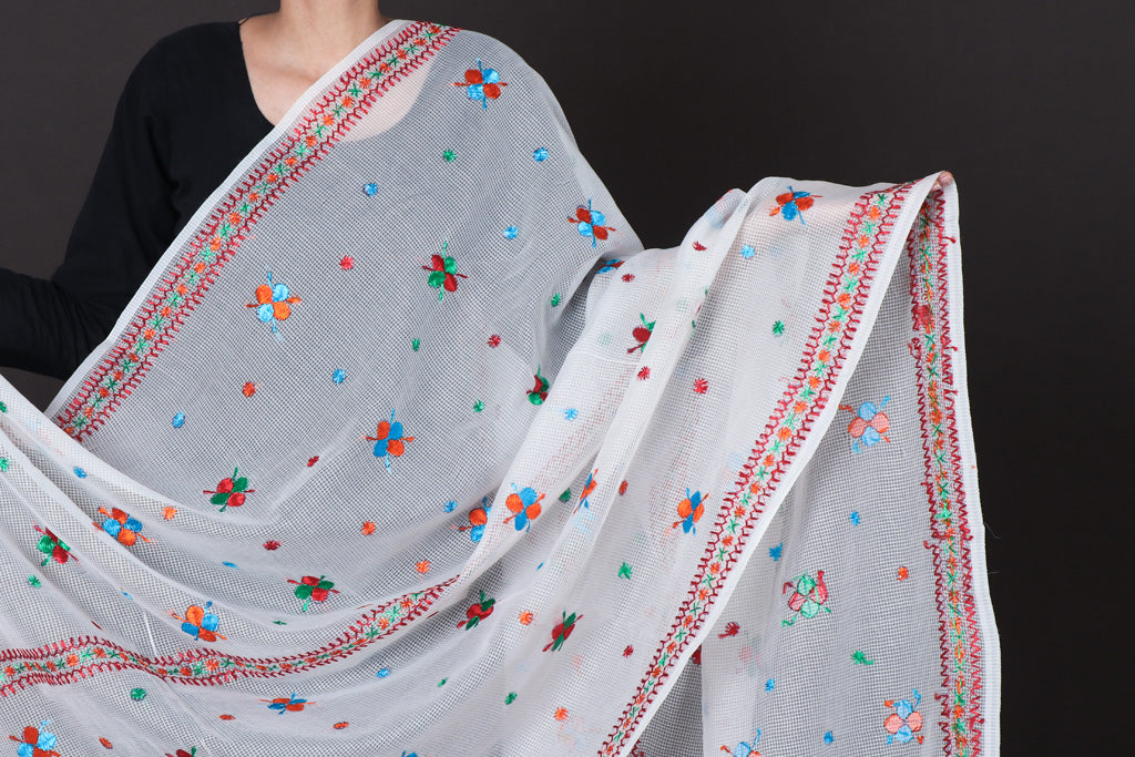 Traditional Phulkari Hand Embroidered Kota Doria Silk Dupatta