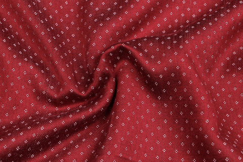 Red/White - Handwoven Mashru Silk Cotton Unstitched Fabric (width - 56 Centimeters)