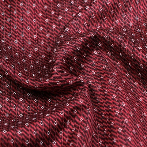 Maroon/White - Handwoven Mashru Silk Cotton Unstitched Fabric (width - 56 Centimeters)