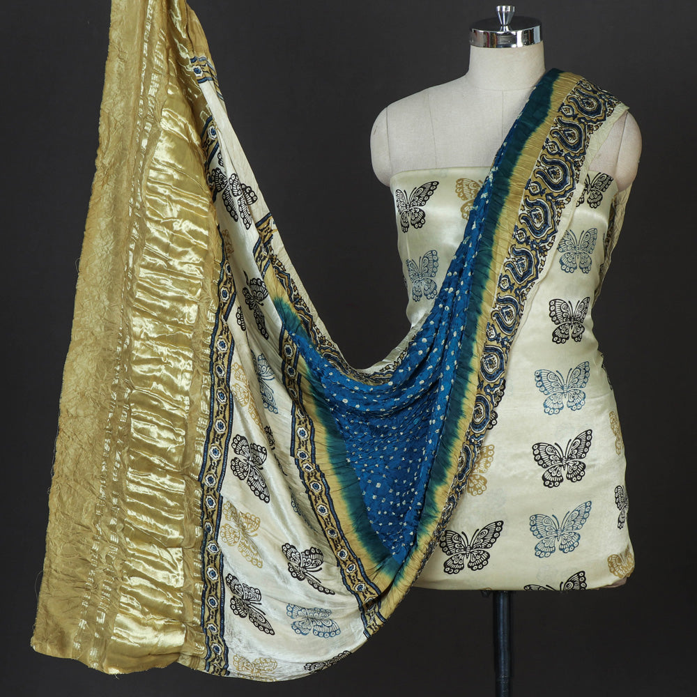 Special Modal Silk Ajrakh Hand Block Print 3pc Suit Material Set with Bandhani Tie-Dye Dupatta