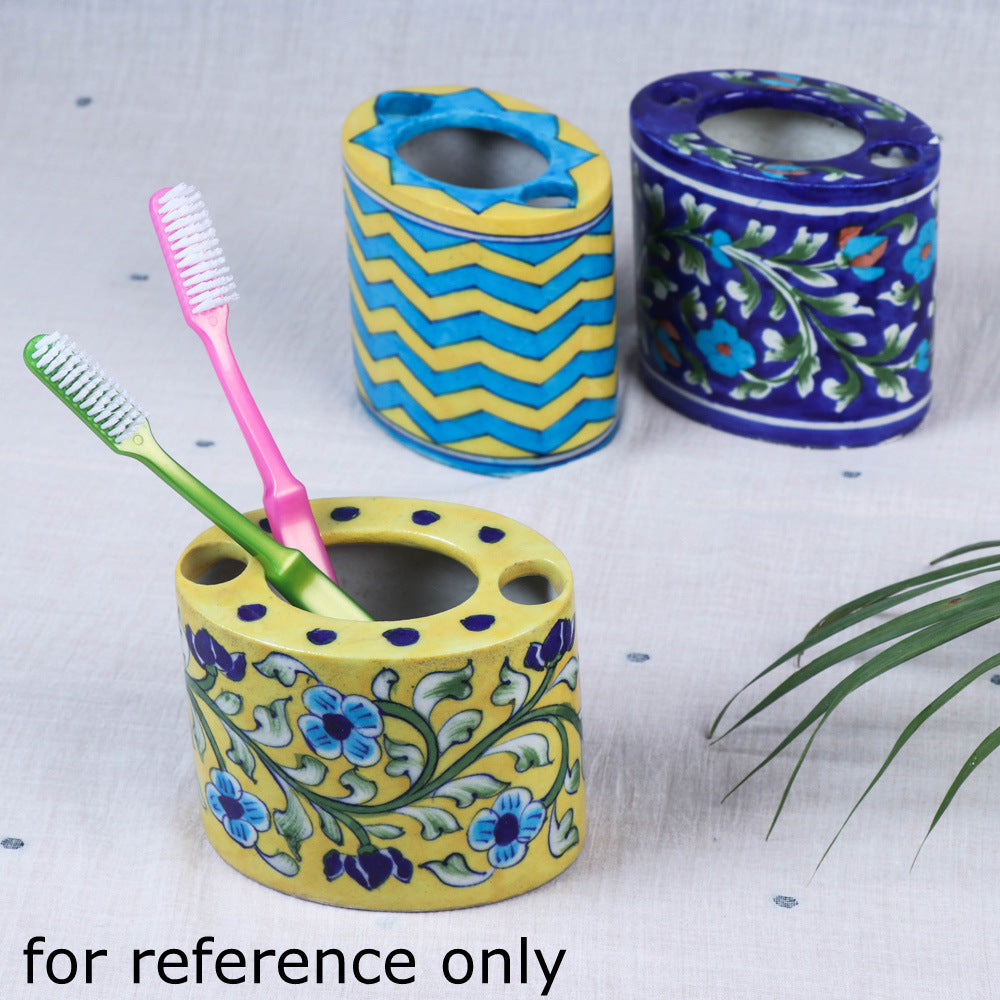Original Blue Pottery Ceramic Toothpaste / Toothbrush Stand