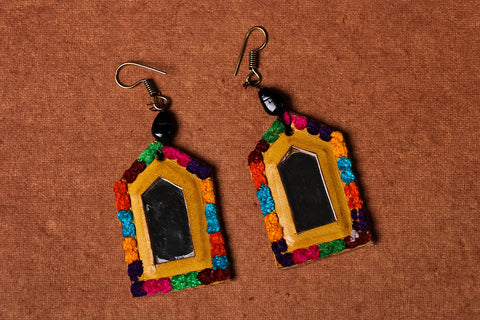 Mirror Work Kutchhi Earrings by Nidhi