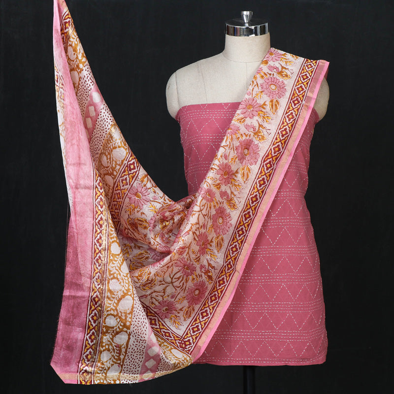 Special Tagai Work Cotton Kurta Material with Sanganeri Print Chanderi Silk Dupatta