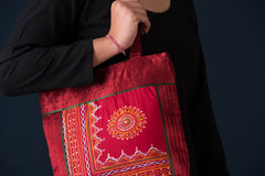 Traditional Rogan Art Painted Mashru Silk Shoulder Bag