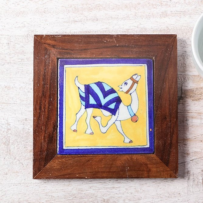 Original Blue Pottery Ceramic Tile Sheesham Wood Hot Plate (6 x 6 inches)